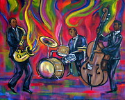 Jazz Drawings Prints - Colorful Trio Print by Pete Maier