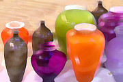 Fine Bottle Posters - Colorful Vases I - Still Life Poster by Ben and Raisa Gertsberg