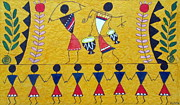 Warli Paintings - Colorful Warli Happy Celebration by R J