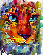 Cats - Colorful Watercolor leopard painting by Svetlana Novikova