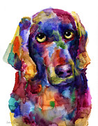 Watercolor Cat Print Prints - Colorful Weimaraner Dog art painted portrait painting Print by Svetlana Novikova
