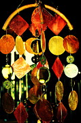 Beige Glass Framed Prints - Colorful Wind Chime Framed Print by Susanne Van Hulst