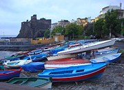 Byzantine Prints - Colorful Wooden Fishing Boats of Aci Castello Sicily with 11th Century Norman Castle Print by Jeff at JSJ Photography