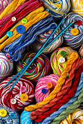 Knitting Posters - Colorful world of art and craft Poster by Garry Gay