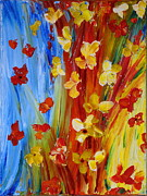Flowers Paintings - Colorful World by Teresa Wegrzyn