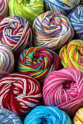 Cotton Photo Posters - Colorful Yarn Poster by Garry Gay
