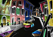 Colored Pencils Drawings Prints - CoLoRi Di BuRaNo - Fine Art Venice Canal Paintings Italy Print by Arte Venezia