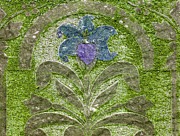 Colorized Moss Covered Gravestone  Print by Jean Noren