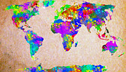 Impasto Drawings Posters - Colormix World Map Poster by Radu Aldea