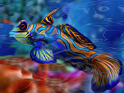 Tropical Fish Digital Art Posters - Colors Below 2 Poster by Jack Zulli