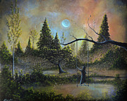Fairytale Painting Posters - Colors Bring Her Joy. Gothic Landscape Fairytale Art By Philippe Fernandez Poster by Philippe Fernandez