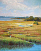 Redfish Paintings - Colors in the Marsh by Pam Talley