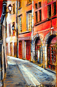 Old Street Pastels Posters - Colors Of Lyon 3 Poster by EMONA Art