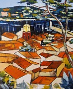 Red Cat Wine Prints - colors of roofs to Saint Tropez Print by Atelier De  Jiel