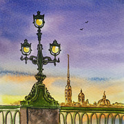 Winter Travel Painting Posters - Colors Of Russia Bridge Light in Saint Petersburg Poster by Irina Sztukowski