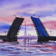 Night-scape Paintings - Colors Of Russia Bridges of Saint Petersburg by Irina Sztukowski