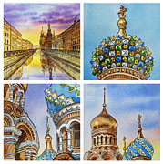 Night-scape Paintings - Colors Of Russia Church of Our Savior on the Spilled Blood  by Irina Sztukowski