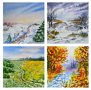 Winter Travel Painting Posters - Colors Of Russia Four Seasons Poster by Irina Sztukowski
