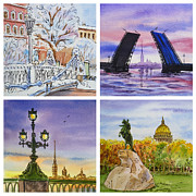 Night-scape Paintings - Colors Of Russia Saint Petersburg by Irina Sztukowski