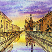 Night-scape Paintings - Colors Of Russia St Petersburg Cathedral I by Irina Sztukowski