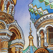 Winter Travel Painting Posters - Colors Of Russia St Petersburg Cathedral II Poster by Irina Sztukowski