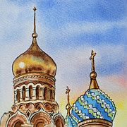 Night-scape Paintings - Colors Of Russia St Petersburg Cathedral IV by Irina Sztukowski