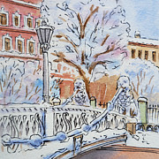 Winter Travel Painting Posters - Colors Of Russia Winter in Saint Petersburg Poster by Irina Sztukowski