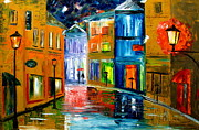Rainy Street Painting Originals - Colors of the night by Mariana Stauffer