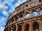 Architecture Digital Art Prints - Colosseo Print by Jeff Kolker
