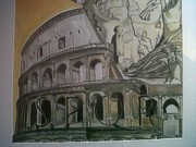 Featured Drawings - Colosseo Rome by Alessandro Cedroni