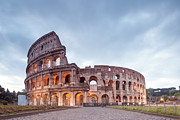 Roman Ruins Posters - Colosseum at sunrise Rome Italy Poster by Matteo Colombo