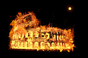 Building Exterior Mixed Media - Colosseum on fire by Saurabh and Geetanjali Nande