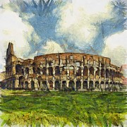 Colosseum Pencil Print by Sophie McAulay