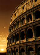 Italian Sunset Posters - Colosseum sunrise Poster by Ron Sumners