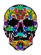Scull Posters Photos - Coloured Cards Scull by Mauro Celotti