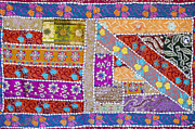 Embroidered Prints - Colourful Indian patchwork wall hanging Print by Tim Gainey