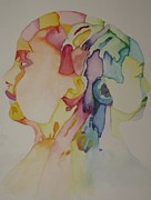 Thoughts Pyrography Prints - Colourful Thoughts In Motion Print by Alana Monet-Telfer