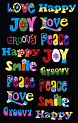 Hippie Photo Posters - Colourful Words Poster by Tim Gainey