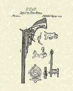 Pistol Drawings Posters - Colt Firearm 1839 Patent Art Poster by Prior Art Design