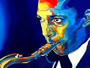 Soprano Painting Framed Prints - Coltrane-Blu Framed Print by Vel Verrept