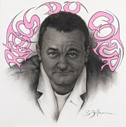 Sepia Chalk Framed Prints - Coluche Framed Print by Guillaume Bruno