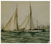 Sailing Vessels Framed Prints - Columbia and Shamrock  Americas Cup Framed Print by Edward Hopper