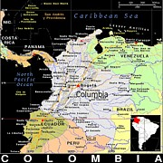 Columbia Mixed Media Posters - Columbia Exotic Map Poster by Florene Welebny