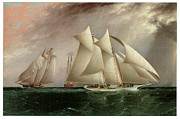 Boat Races Framed Prints - Columbia Leading Dauntless in the Hurricane Cup Race Framed Print by James E Buttersworth