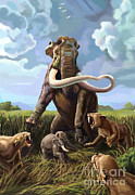 Columbian Mammoth And Saber-toothed Cats Print by Spencer Sutton