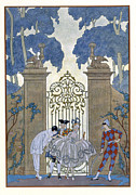 Garden House Framed Prints - Columbine Framed Print by Georges Barbier