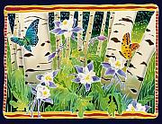 Batik Painting Posters - Columbine in the Aspen Poster by Harriet Peck Taylor
