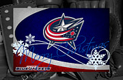 Blue Barn Doors Photos - Columbus Blue Jackets Christmas by Joe Hamilton