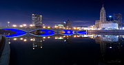 Nightscapes Prints - Columbus OH Blue Bridge Reflections Print by Shane Psaltis