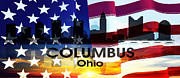 Ohio. Oh Framed Prints - Columbus OH Patriotic Large Cityscape Framed Print by Angelina Vick